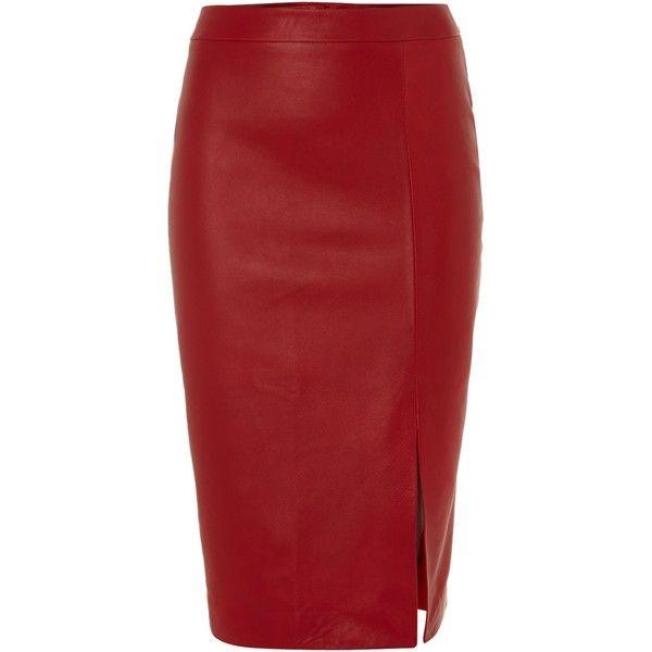 Kilian Kerner Senses Side split leather pencil skirt found on Polyvore