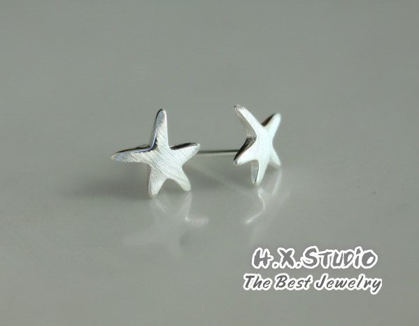 Silver Starfish Earring, 925 Silver Starfish Ear Studs, Birthday, Teenage, Valentine, Bridemaid, Bridal, Wedding Gift, Wholesale Available