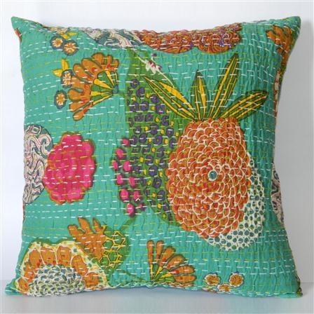 Something comfy - Fruit Kantha Cushion Cover, Natural