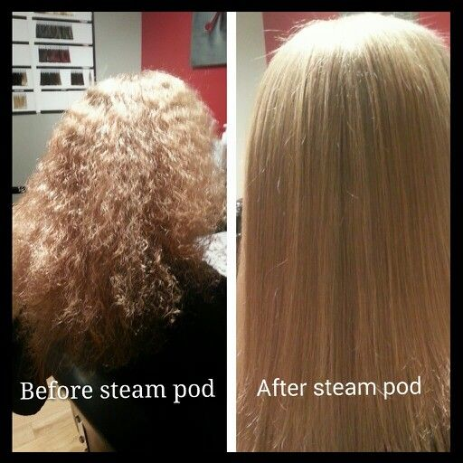 Before & After steam pod treatment. By Red Stiletto Hair & Lash Studio