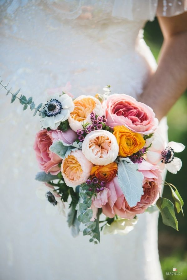 Colorful spring ranunculus and anemone bouquet: http://www.stylemepretty.com/maryland-weddings/baltimore/2016/02/19/artistic-baltimore-wedding-surrounded-by-spring-blossoms/ | Photography: Readyluck - http://readyluck.com/