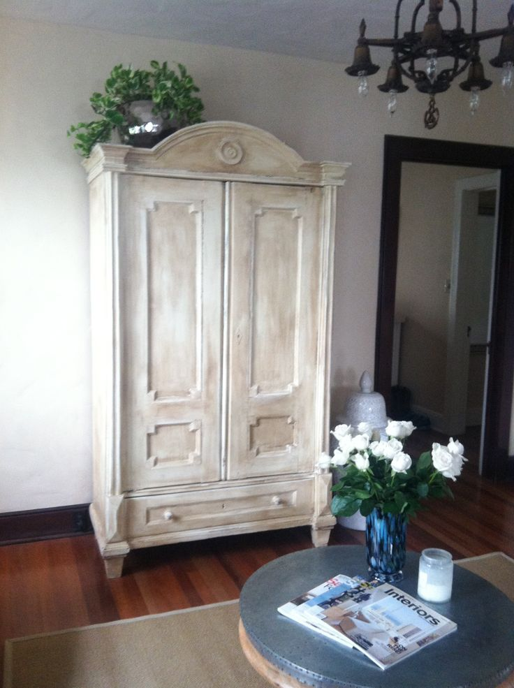 Chalk painted antique armoire by Mad