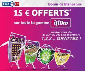 Opération Bonus de Bienvenue chez FDJ :15 euros offerts sur toute la gamme de jeux de grattage illiko | Maxi Bons Plans