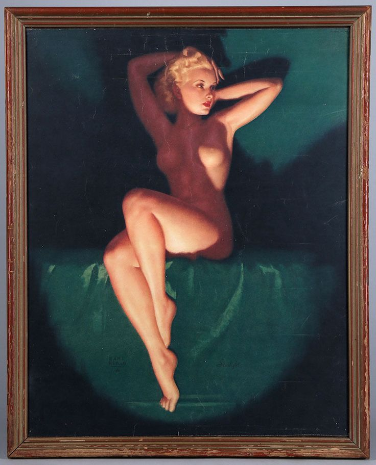 Earl Moran Framed Vintage 1930s Art Deco Nude Pin-Up Print Starlight Rare B & B