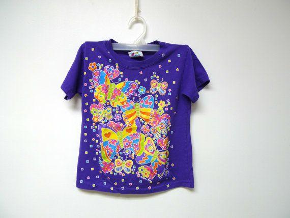 Nice 2B Nice . 80s 90s butterflies puff paint print shirt . girl's size medium 5 / 6 . made in USA