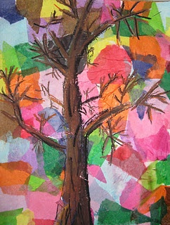 fall trees with tissue paper and oil pastel.