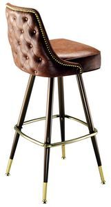 The Outlined Bar Lounger is a beautiful example of the craftsmanship you want from an American made commercial bar stool. This bar stool has a return swivel so the seat will always face front when not in use. This bar stool has glides to protect your floor. The Outlined Bar Lounger is available in a variety of colors, and the bar stool frame is available in black or brown with a brass footrest, brass tacks around the outside of the seat back, and brass ferrules.  Weight: 30 lbs Seat Height…