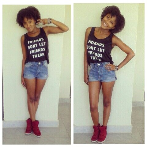 High waisted shorts and high tops plus natural hair=chilled out Sunday. Mummy Mthembu - Fawkes