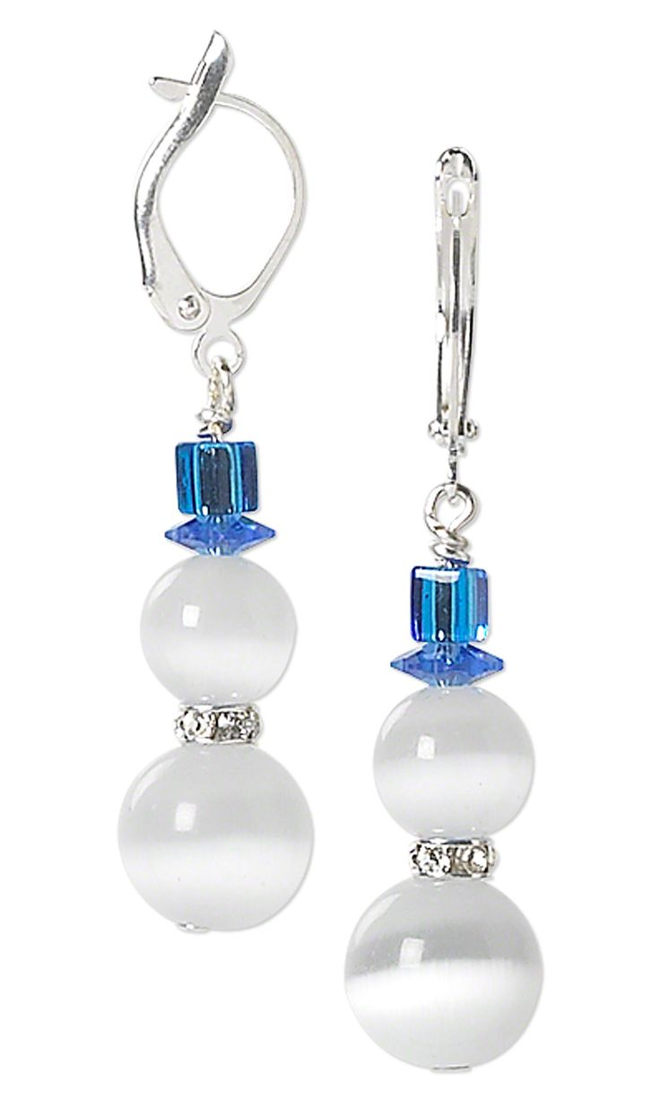 Jewelry Design - Snowman Earrings with Cat's Eye Glass Beads, Swarovski Crystal Beads and Miyuki Seed Beads - Fire Mountain Gems and Beads