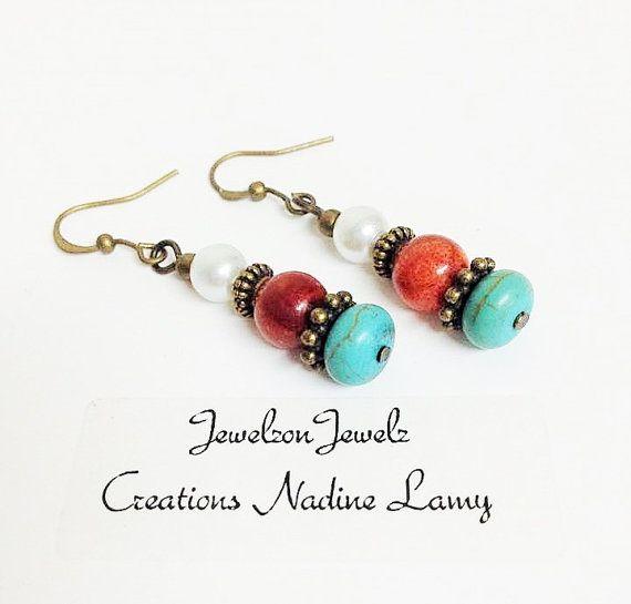 Turquoise Brass Earrings Coral Pearl Earrings by JewelzonJewelz