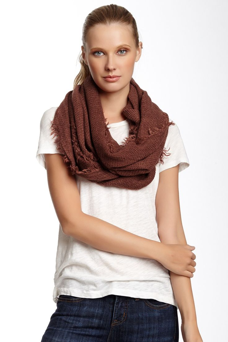 Tiny Texture Infinity Scarf with Fringe by 14th & Union on @nordstrom_rack