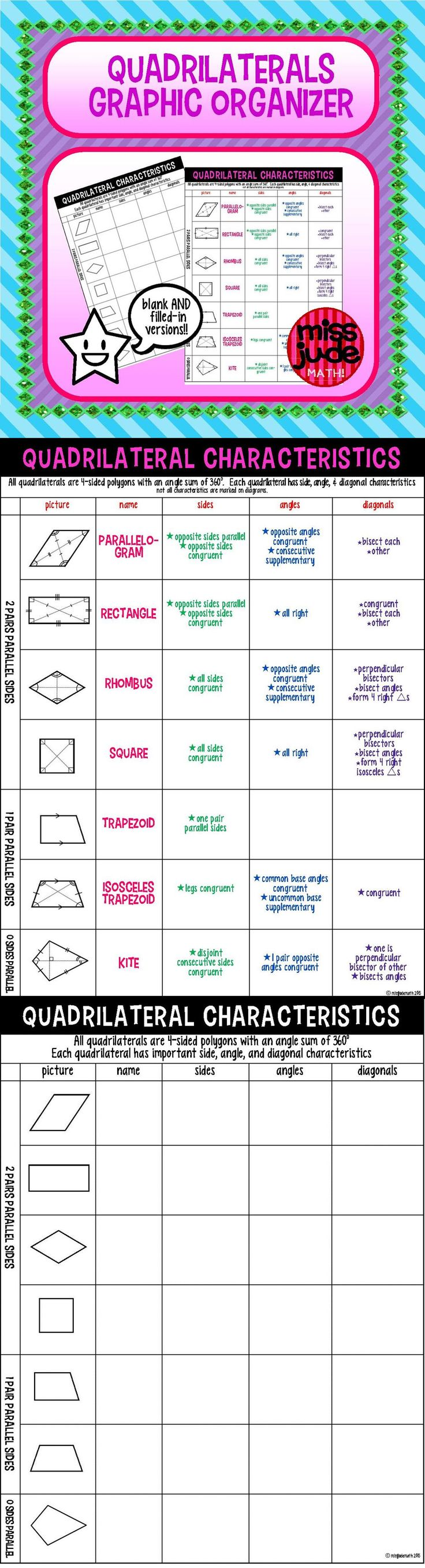 This miss jude math! graphic organizer is perfect for your Interactive Notebook or to use as a handy reference for quadrilaterals.   Included is a blank organizer which can be used to take notes and a filled-in version for reference.  From the miss jude math! TPT store