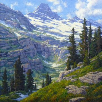 Image from http://www.randyvanbeek.com/images/original-paintings/10_mount-reynolds-from-logan-pass_med.jpg.