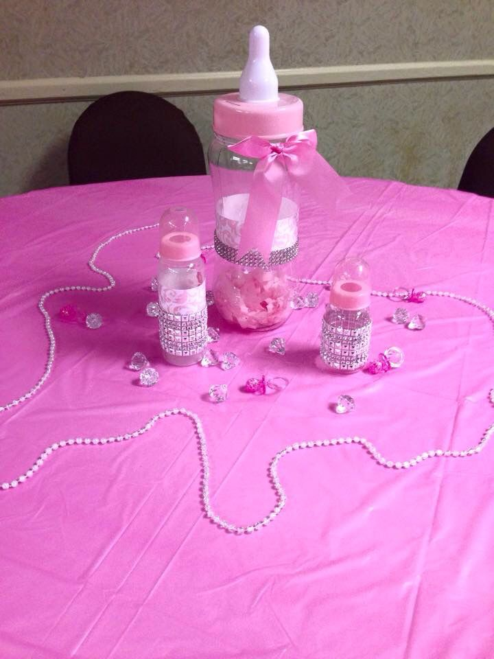 DIY: Pink Baby Shower Centerpiece / Table Decorations Ribbon U0026 Rhinestone  Wrapped Baby Bottles With