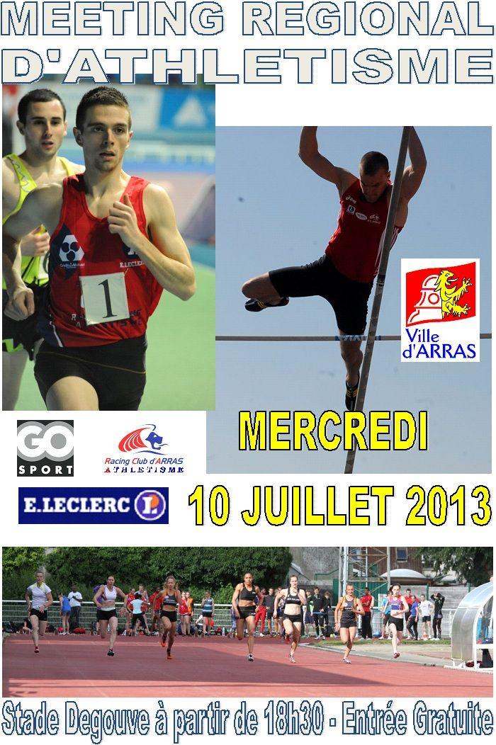 Meeting régional d'athlétisme 2013 à Arras. Le mercredi 10 juillet 2013 à Arras.
