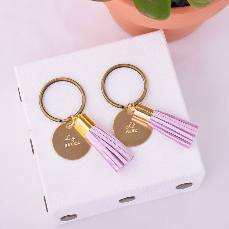 Big / Lil Sorority Sister Personalized Tassel Keychain Set - Big & Little Gifts from www.alistgreek.com