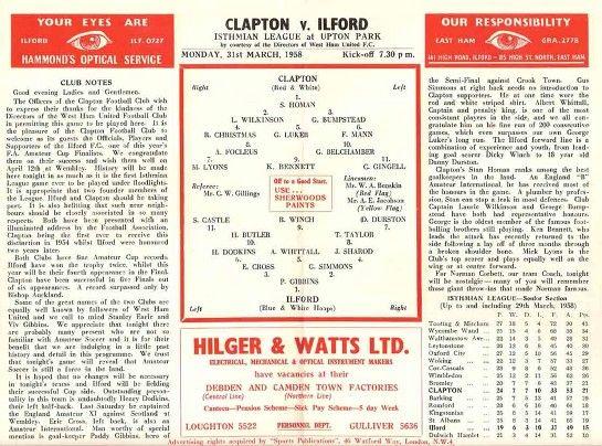 Clapton FC vs Ilford 1957