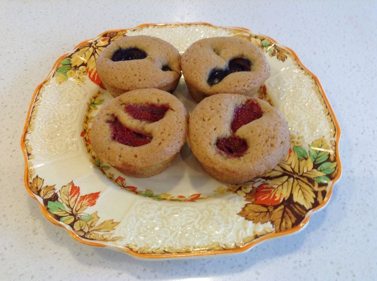 Gluten free friands!  Strawberry and cherry, yum!! They look so pretty on this pretty antique Myott plate which I picked up from an op shop!