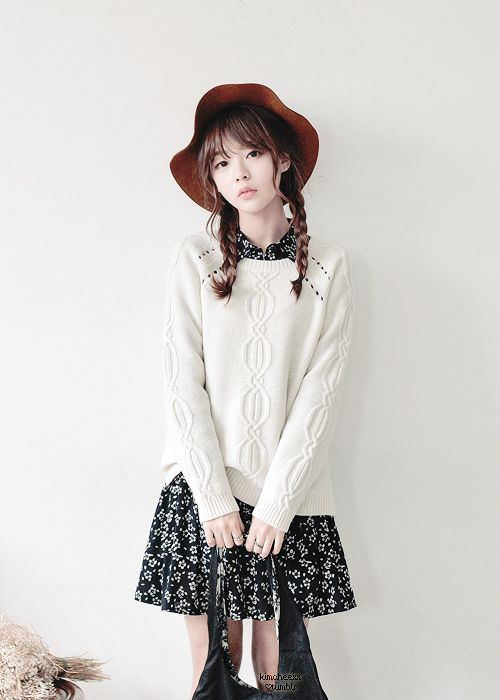 Korean fashion - white sweater, floral dress and black bag