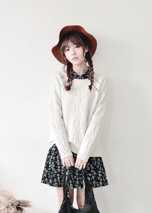 Korean fashion - white sweater, floral dress and black bag
