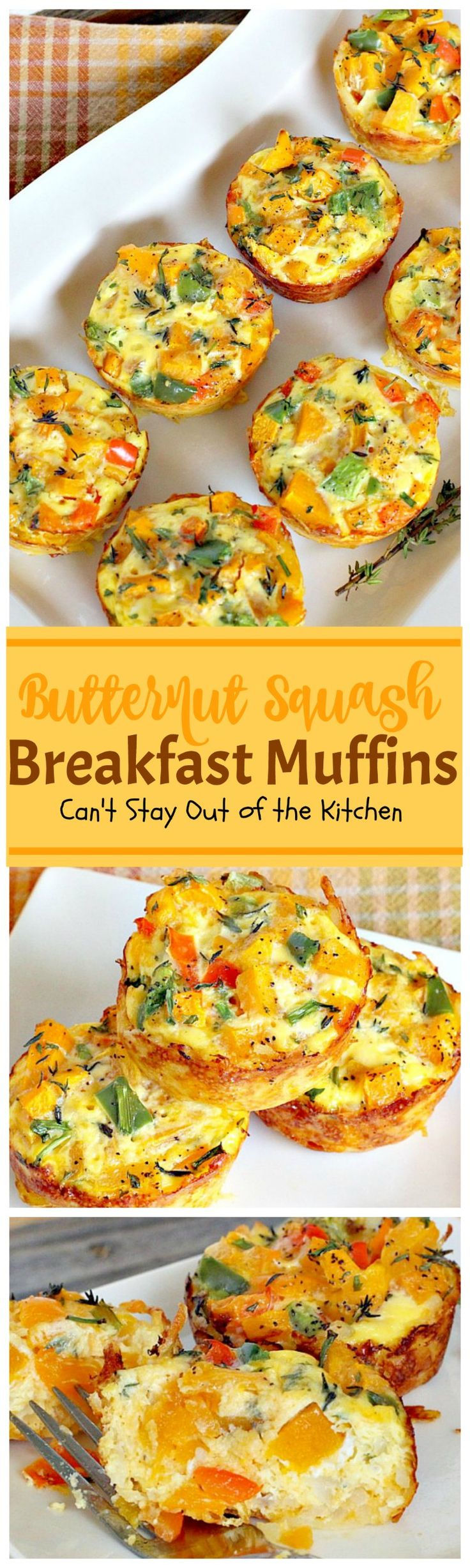 Butternut Squash Breakfast Muffins   Can't Stay Out of the Kitchen   Oh my goodness we LOVED these #breakfast #muffins. These are made with #butternutsquash and so divine! #vegetarian #glutenfree