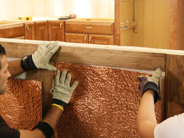 maybe use antiques ceiling tile. wainscoting diy   How to Install Copper Wainscoting : How-To : DIY Network