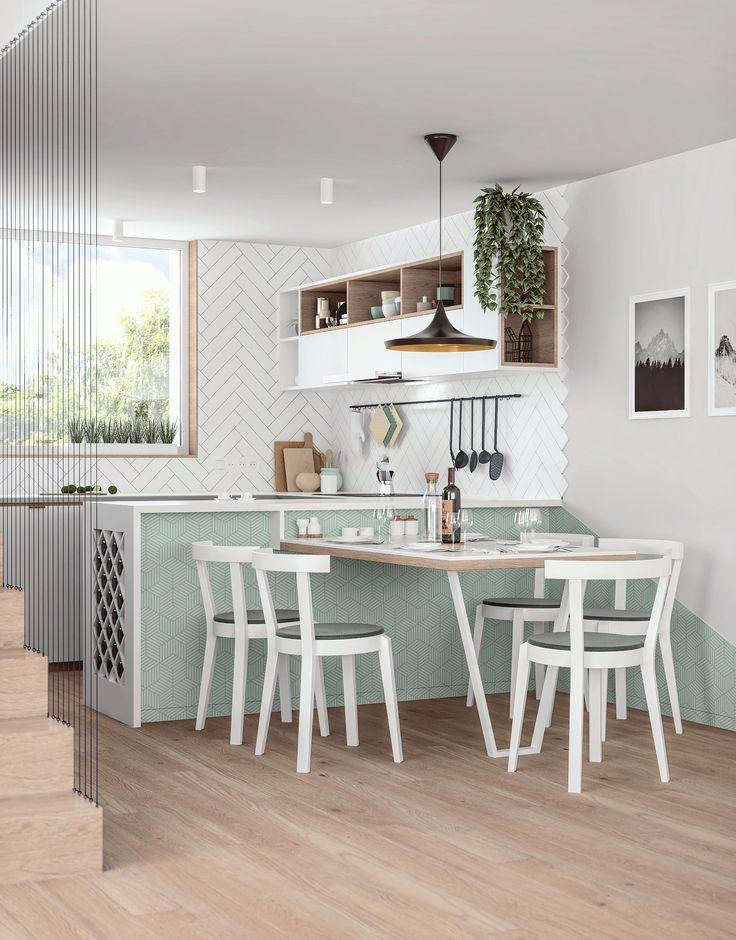 Kitchen design of minimalist interior