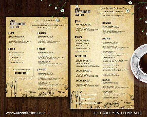 60 best Food Menu Templates images on Pinterest   Menü vorlage ...