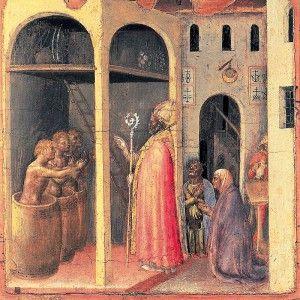 GENTILE DA FABRIANO 1370 ca.-Roma 1427 S.Nicola risuscita tre bambini messi in salamoia in una botte, 1452 Tempera su tavola cm 36,5×36,5 L'educazione artistica di Gentile da Fabriano avvenne in rapporto con i minatori lombardi del Tacuinum Sanitatis di Vienna (fine secolo xiv) . Mentre il successivo polittico di Brera (ca 1400) sembra tener conto anche degli influssi senesi penetrati attraverso la Liguria (Taddeo di Bartolo). #art #Gentiledafabriano #oil #uffizi #history
