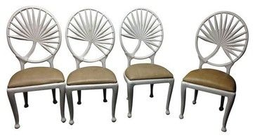 palm leaf bathroom mirror | Used Palm Leaf Iron Chairs - Set of 4 - Mediterranean - Dining Chairs ...
