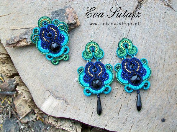 """Komplet biżuterii """"Turquoise & green"""" sutasz (soutache)"""