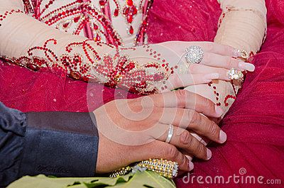 Hand Oriental Bride And Groom In A Red Dress With Wedding Rings On Wedding Bouquet - Download From Over 44 Million High Quality Stock Photos, Images, Vectors. Sign up for FREE today. Image: 58602336