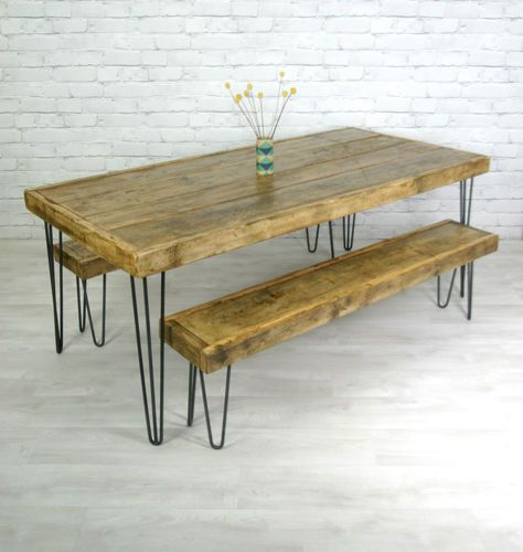 Bench Dining Vintage Industrial Bespoke Dining Table Bench: Details About HAIRPIN LEGS VINTAGE INDUSTRIAL RUSTIC MID
