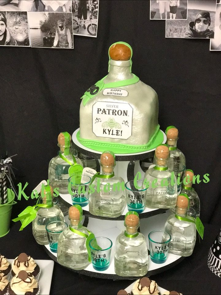 Enjoyable Patron Bottle Cake Small Patron Bottles And Shot Glass Personalised Birthday Cards Veneteletsinfo