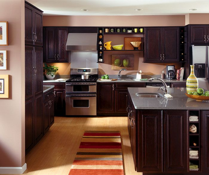 Kemper Cabinets, Oak Wood With Chocolate Finish