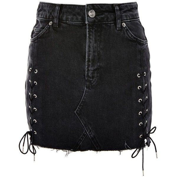 Topshop Tall Side Lace Up Mini Skirt (£34) ❤ liked on Polyvore featuring skirts, mini skirts, bottoms, washed black, short mini skirts, short skirts, topshop mini skirt, high rise skirts and high waisted mini skirt