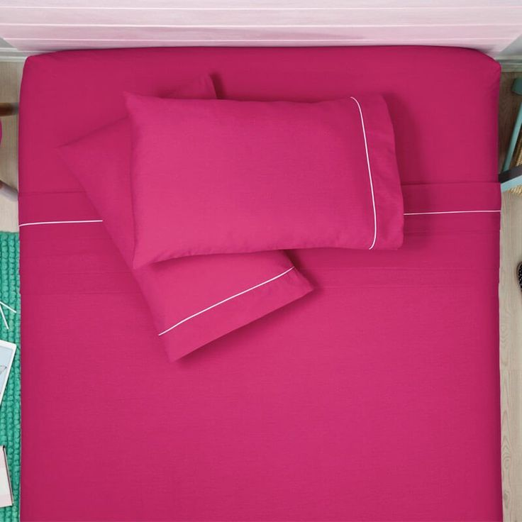 Fill your dreams of pink, with these happy pink Bed Sheets. Fabric 50% polyester / 50% cotton Bed Sheets Set includes: Twin 1 Fitted Sheet 39,37 inch x 74,80 inch x 12,99 inch 1 Flat Sheet 67,71 inch