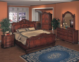Symphony Bedroom Collection | Traditional Sleigh Bed | Ornate | Cherry Finish 10992