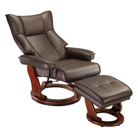 Morgan Espresso Faux Leather Ottoman and Swiveling Recliner - $400  sc 1 st  Pinterest & 8 best Lamp Plus Recliners images on Pinterest   Ottomans ... islam-shia.org