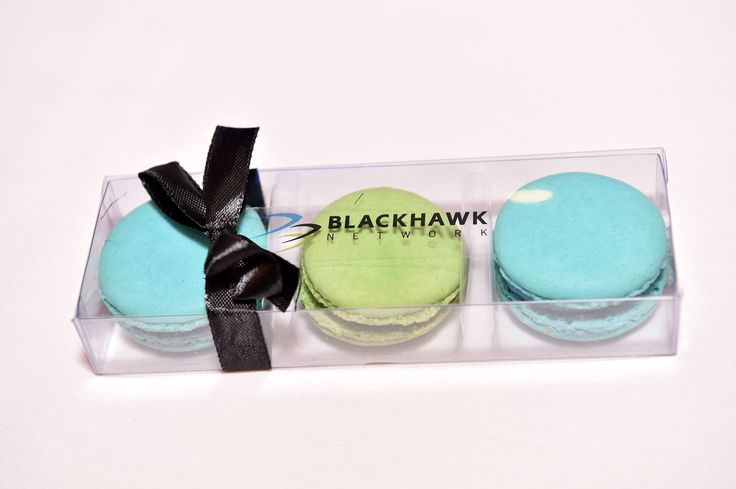 Macaron Box - this is one we supplied a client event .. three macarons per box with ribbon and logo sticker.  #macarons #eventgifts #thrivepromotionalproducts