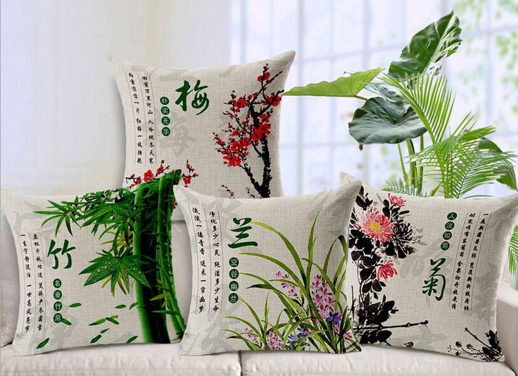 Lazy Boy Sofa  Pcs lot Chinese Wind Retro Plum Chrysanthemum Thicken Linen Cotton Pillow Sets Sofa Cushion