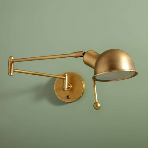 The Reade was designed for Soho House Chicago and is now used everywhere from Babington to Soho Farmhouse, due to its versatility and classic design. With a nod to 1950s studio wall lights, it combines Mid Century style with modern functionality and is ideal for a bedside or reading corner. • Adjustable, wall-mounted reading light in brushed brass finish  • Hinged arm and pivoting shade allow light to be directed  &bul...