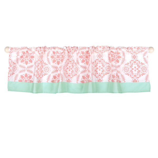 Medallion Tailored 53 Window Valance This Features A Rod Pocket Design In Coral Mint