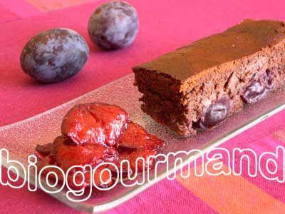 Recette SEIGNALET - Gâteau chocolat sans gluten aux prunes d'Ente - Blog cuisine bio - Recettes bio Cuisine bio sans gluten sans lait