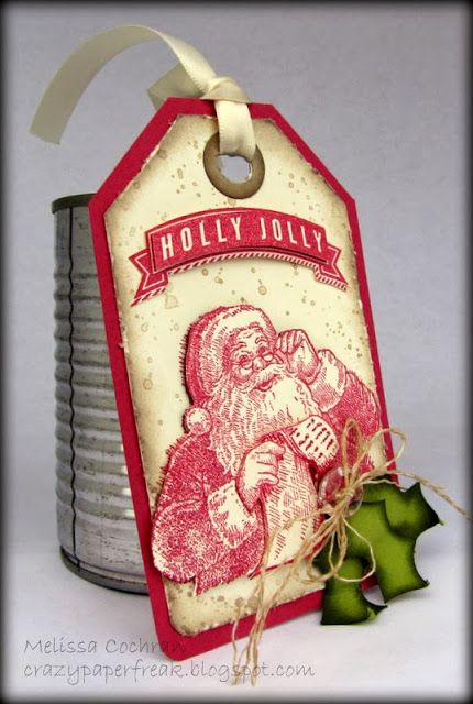 Stampin' Up! Christmas gift tag created by Melissa @ crazypaperfreak.blogspot.com. Santa's List, A Banner Christmas