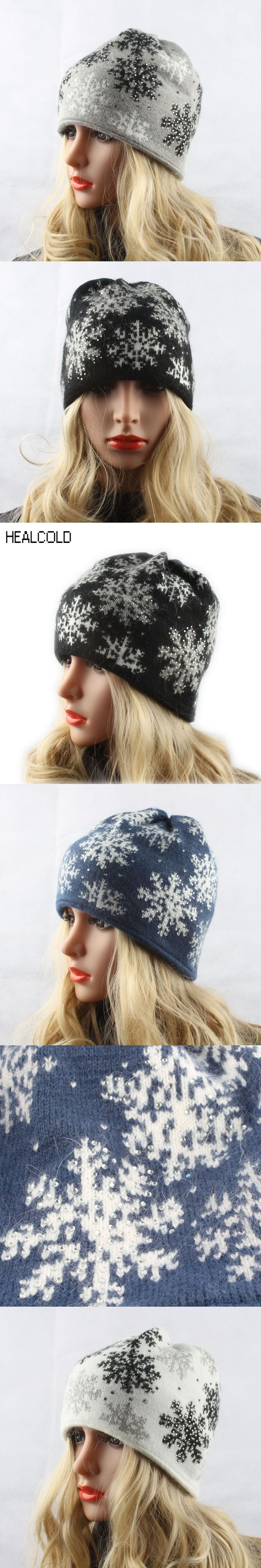 HEALCOLD Winter Thick Knitted Rabbit Fur Hats For Women Jacquard Snowflake Ski cap Skullies Diamond Beanies