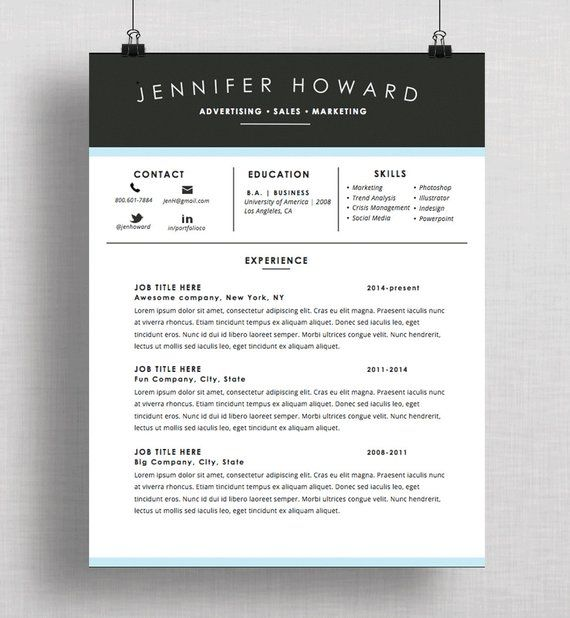 Creative Resume Template | CV + Cover Letter | Mac or PC ...