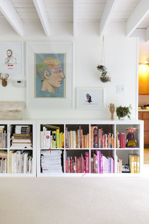 Yes I totally copied this couple's fabulous bookcase idea, even ordered the same brain print, so WHAT. I want their entire house.