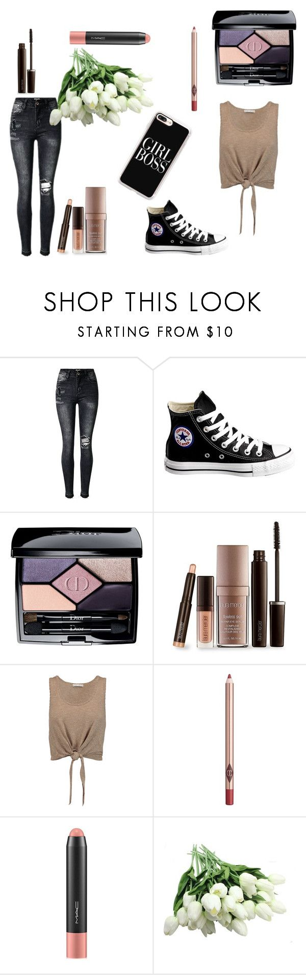"""""""Nromal"""" by erin-richardson-2 on Polyvore featuring Converse, Christian Dior, Laura Mercier, Alice + Olivia, Charlotte Tilbury, MAC Cosmetics and Casetify"""