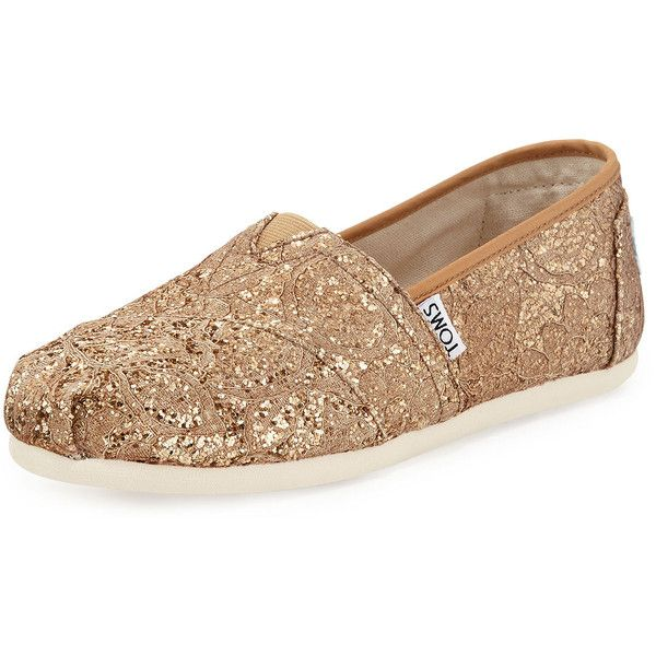 TOMS Classic Lace Glitz Slip-On (£41) ❤ liked on Polyvore featuring shoes, rose gold, slip on shoes, lace shoes, wedges shoes, rubber sole shoes and cap toe shoes